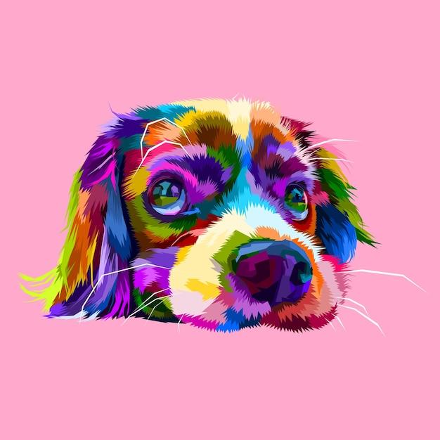 Simpatiche teste di cani pigri in stili geometrici pop art Vettore Premium