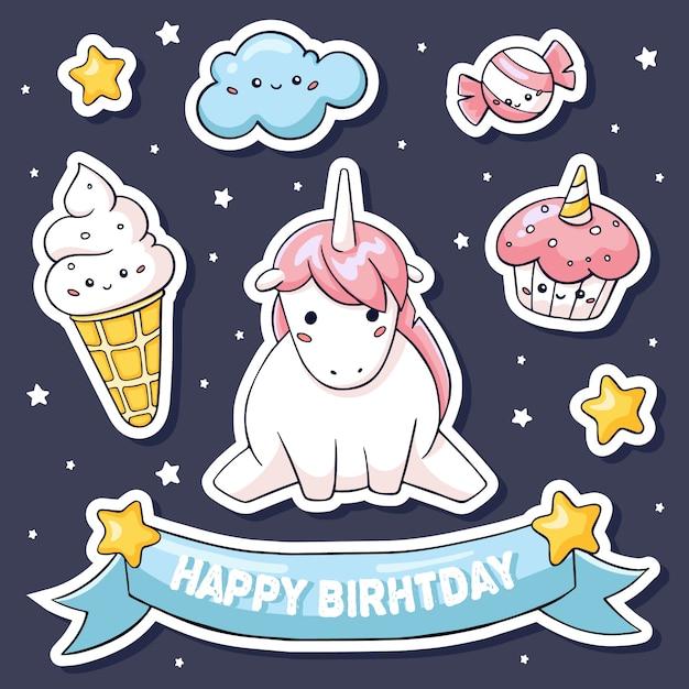 Simpatici adesivi con unicorno rosa su nuvola e dolci Vettore Premium