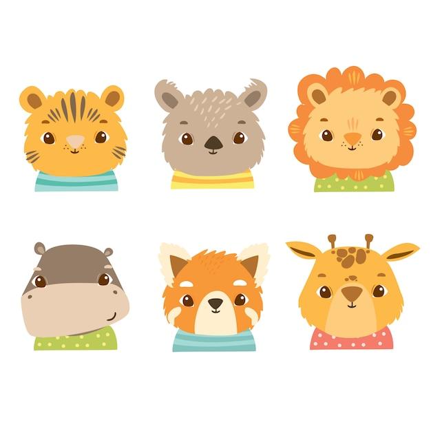 Simpatici animali africani in costumi, leone, giraffa, ippopotamo, panda, koala, panda minore, tigre, gatto. volti felici dei bambini Vettore Premium