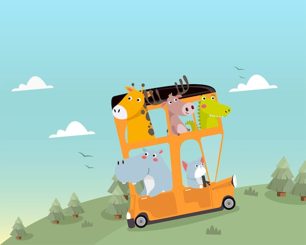 Simpatici animali che viaggiano in autobus Vettore Premium