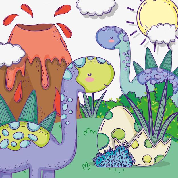 Simpatici animali di stegosauro con uova di dino e vulcano Vettore Premium