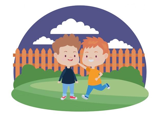 Simpatici bambini felici divertirsi cartoni animati Vettore Premium