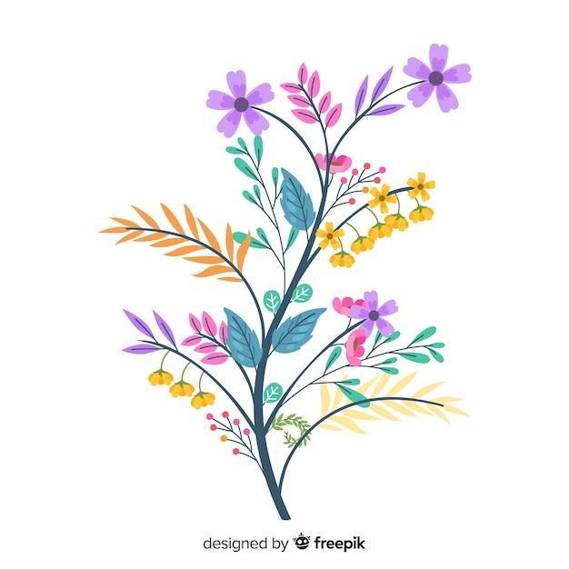 Simpatici colori caldi di fiori primaverili in design piatto Vettore gratuito
