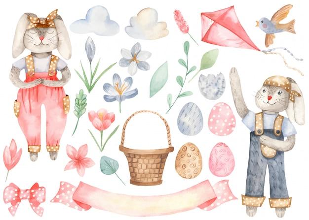 Simpatici coniglietti ed elementi pasquali Vettore Premium