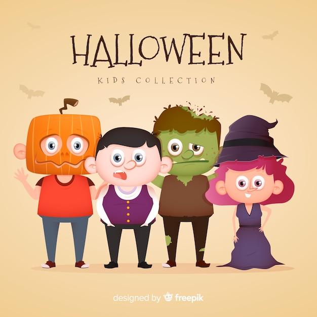 Simpatici costumi di halloween per bambini Vettore gratuito