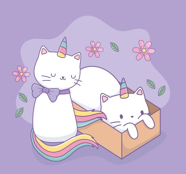 Simpatici gatti con coda arcobaleno e personaggi kawaii scatola di cartone Vettore Premium