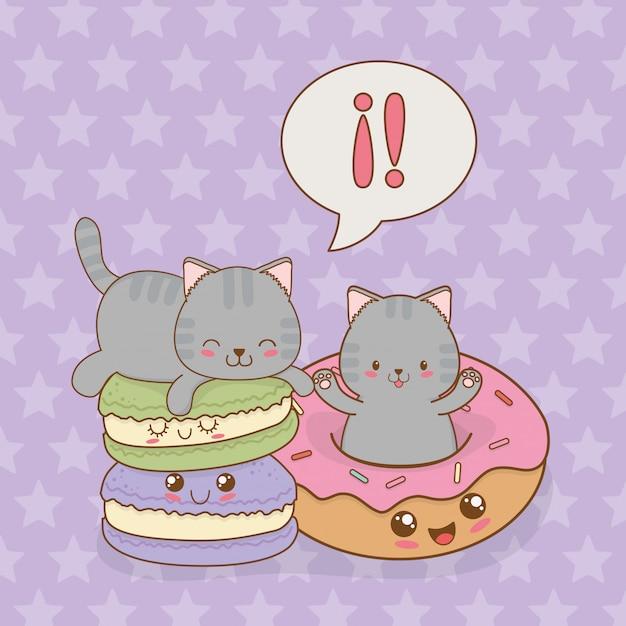 Simpatici gattini con personaggi kawaii ciambelle Vettore Premium