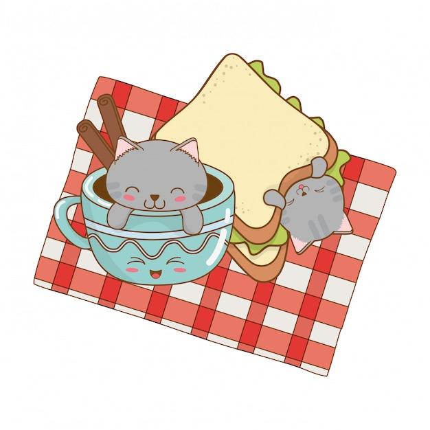 Simpatici gattini con personaggi kawaii tazza di cioccolato Vettore Premium