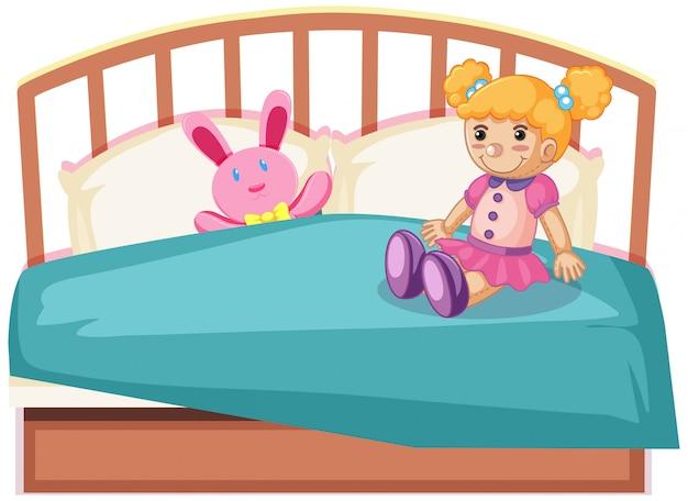 Simpatici giocattoli sul letto Vettore gratuito