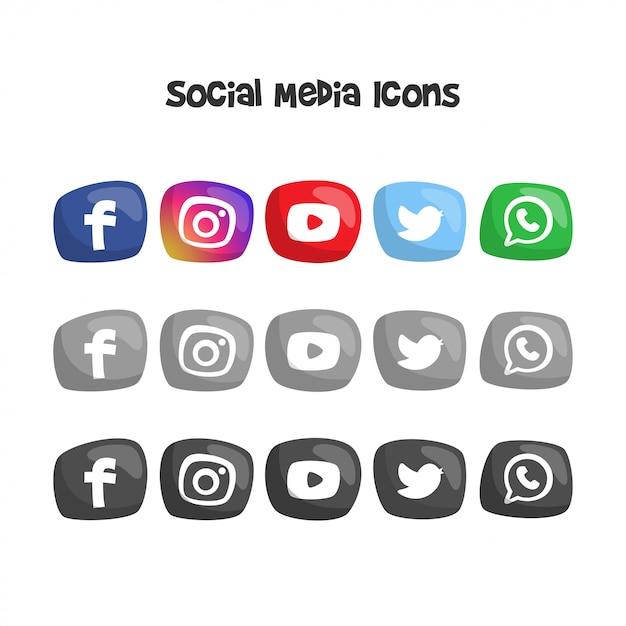 Simpatici loghi social media e icone Vettore Premium