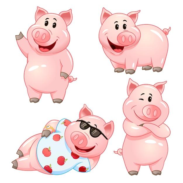 Simpatici personaggi dei cartoni animati di maiale in varie pose. set di illustrazione. Vettore Premium