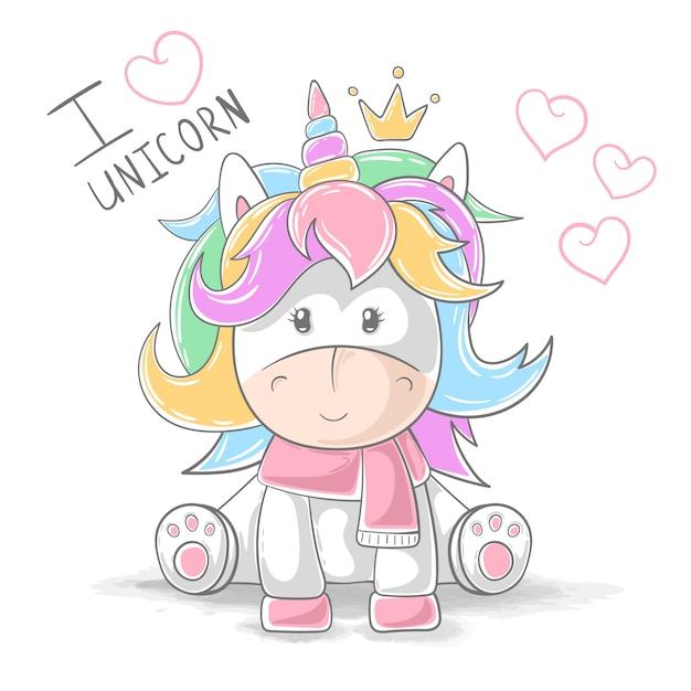 Simpatici personaggi dei cartoni animati di unicorno orsacchiotto Vettore Premium