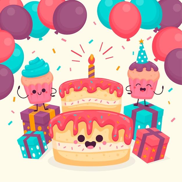 Simpatici personaggi di compleanno illustrati Vettore gratuito
