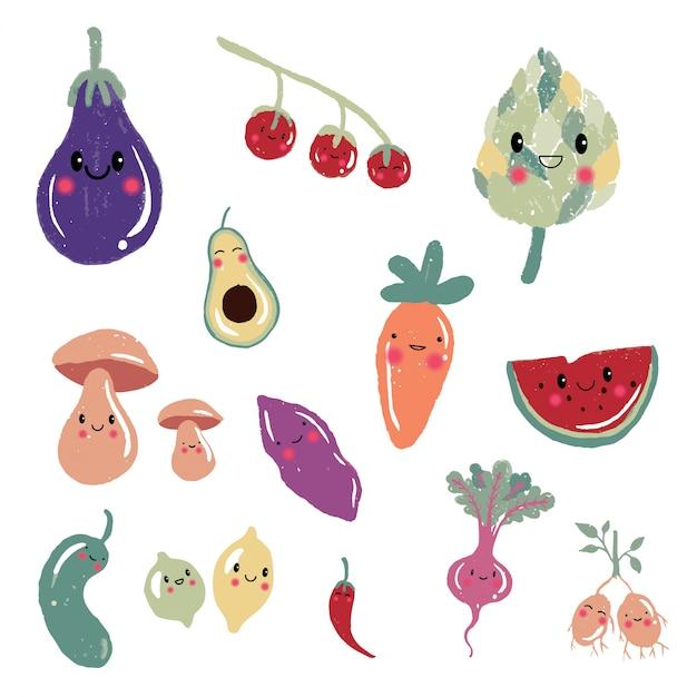 Simpatici personaggi di frutta e verdura dei cartoni animati, icone, set di illustrazioni: carota, pomodoro, avocado, funghi, patate, limone. Vettore Premium