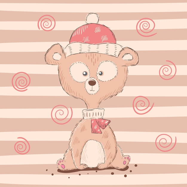 Simpatici personaggi di orso dei cartoni animati. Vettore Premium