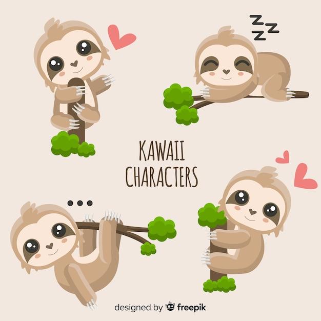 Simpatici personaggi kawaii Vettore gratuito