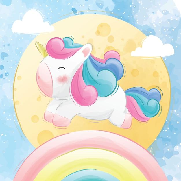 Simpatici unicorni in esecuzione su un arcobaleno Vettore Premium