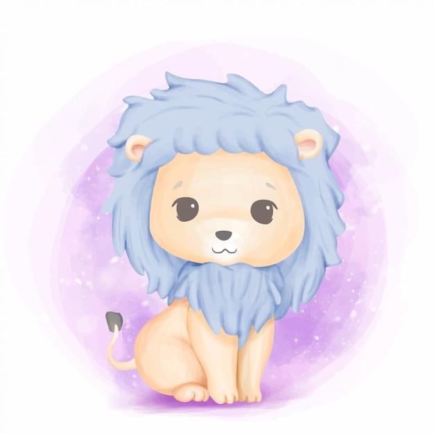 Simpatico animale baby lion lovely Vettore Premium