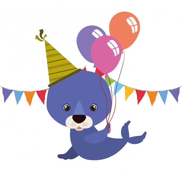 Simpatico animale da foca con palloncino ad elio Vettore Premium
