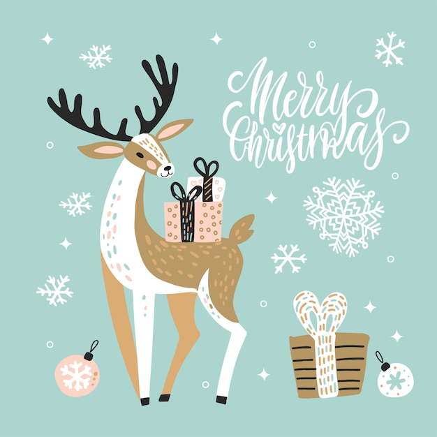 Simpatico biglietto di auguri di natale con renne e scatole regalo. Vettore Premium