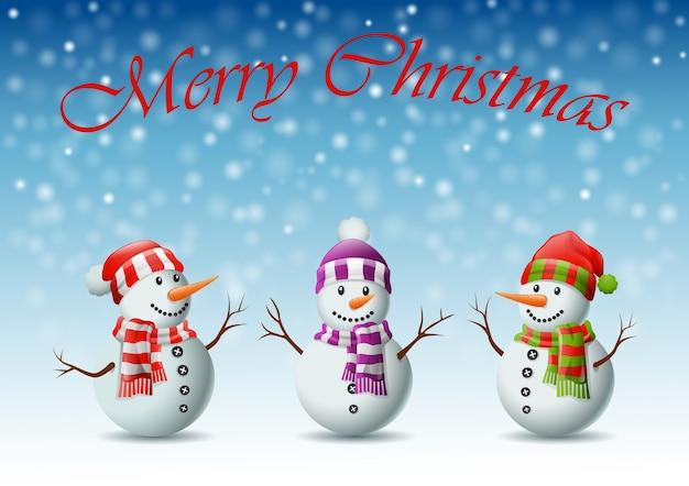 Auguri Di Natale Famiglia.Simpatico Biglietto Di Auguri Di Natale Famiglia Di Pupazzi Di Neve