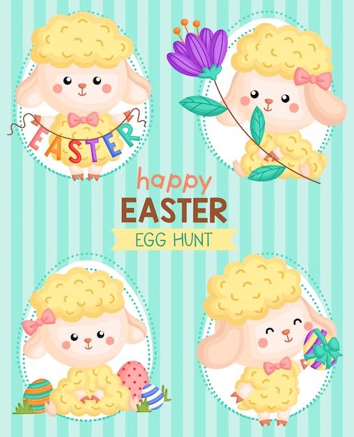 Simpatico biglietto di easter egg sheep Vettore Premium