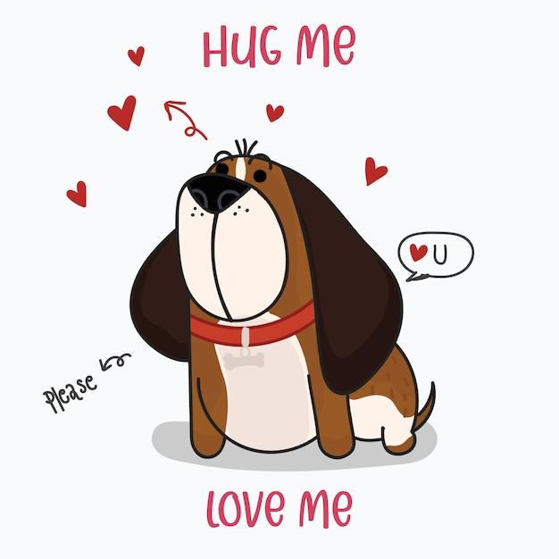 Simpatico cane san bernardo con cuori rossi. stampa stile disegnato a mano. illustrazione vettoriale Vettore Premium