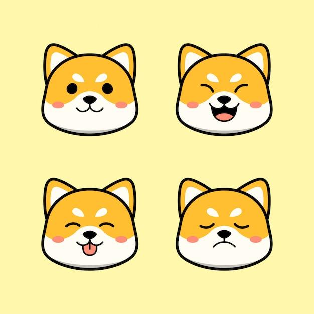 Simpatico cane shiba inu con set di animali di espressione Vettore Premium