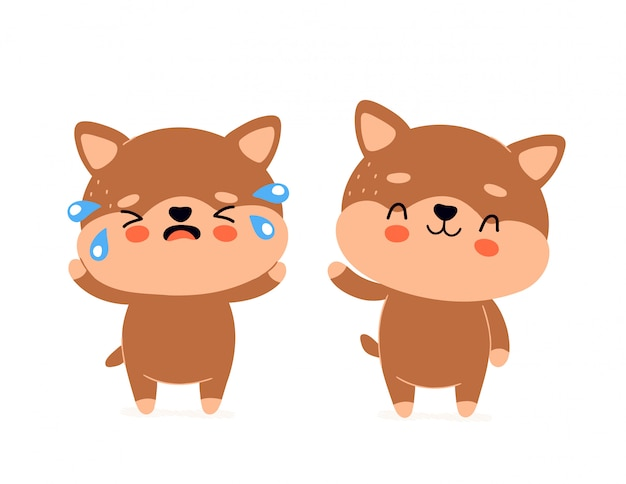 Simpatico cane sorridente felice e personaggio triste piangere. progettazione dell'illustrazione del fumetto di stile piano d'avanguardia moderno di vettore. isolato su bianco cane, cucciolo concetto di carattere sano e malsano Vettore Premium