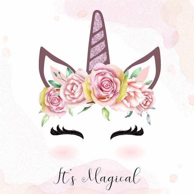 Simpatico capo unicorno con corona floreale ad acquerello Vettore Premium