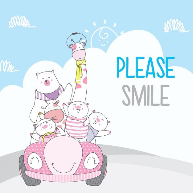 Simpatico cartone animato animale con stile disegnato a mano di auto Vettore Premium