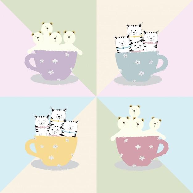 Simpatico cartone animato animale gatto e orso in tazza di caffè Vettore Premium