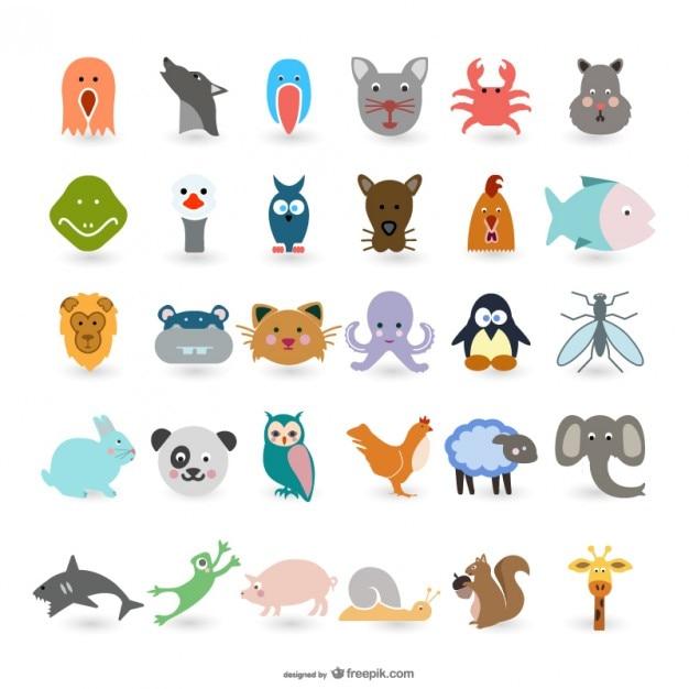 Simpatico cartone animato animali vettoriale scaricare