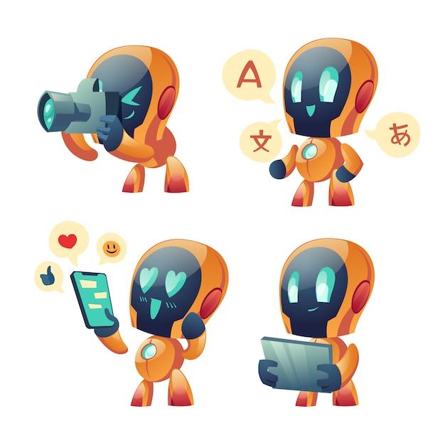 Simpatico cartone animato bot chat, robot di conversazione Vettore gratuito