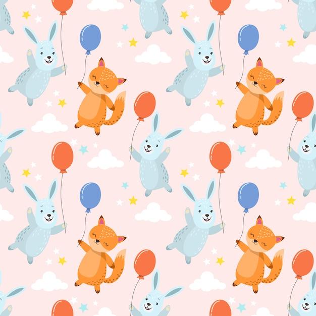 Simpatico cartone animato coniglio e volpe con palloncino seamless pattern. Vettore Premium