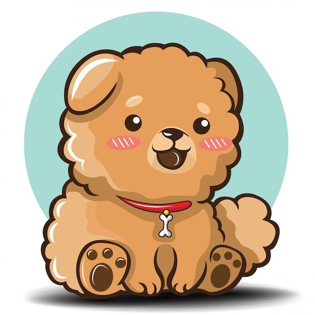 Simpatico cartone animato di cane chowchow Vettore Premium