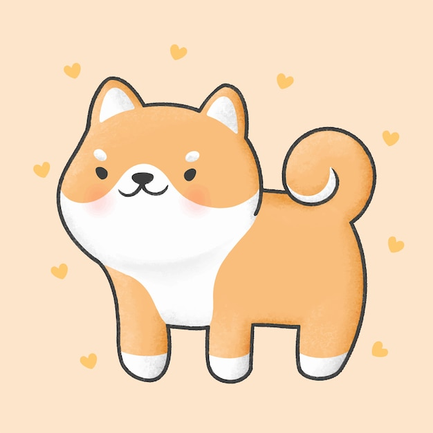 Simpatico cartone animato di cane shiba inu Vettore Premium