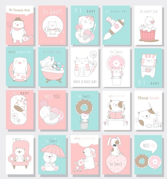Simpatico cartone animato di carta di animali bambino Vettore Premium