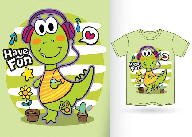 Simpatico cartone animato di dinosauro per tshirt Vettore Premium