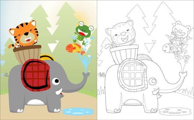 Simpatico cartone animato di elefanti con i suoi amici Vettore Premium