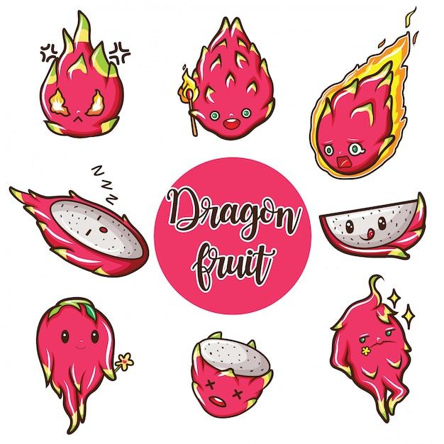Simpatico cartone animato di frutta del drago Vettore Premium