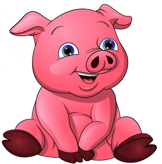 Simpatico cartone animato di maiale bambino Vettore Premium