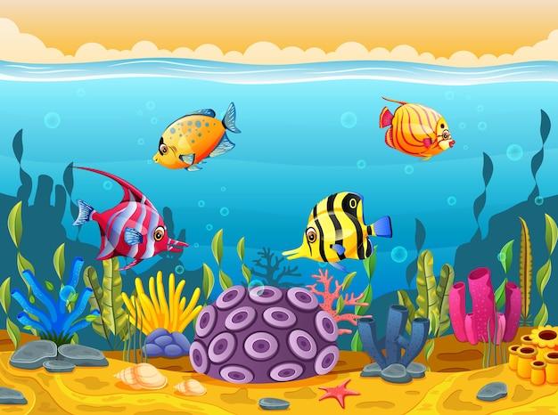 Simpatico cartone animato di pesce nel mare scaricare