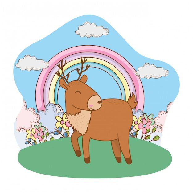 Simpatico cartone animato di piccoli animali Vettore Premium