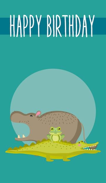 Simpatico cartone animato di simpatici animali felice compleanno carta Vettore Premium