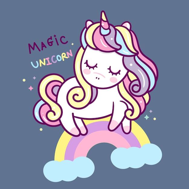 Simpatico cartone animato di unicorno con stile disegnato a mano arcobaleno Vettore Premium