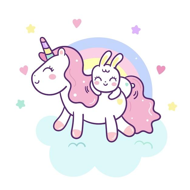 Simpatico cartone animato di unicorno e coniglio vettoriale Vettore Premium