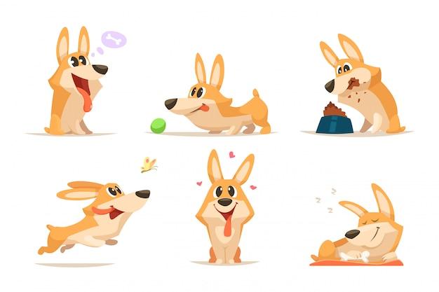 Simpatico cartone animato divertente set di cuccioli Vettore Premium