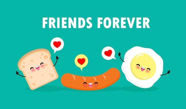 Simpatico cartone animato happy egg, salsiccia, toast, colazione personaggi divertenti migliori amici concetto cibo e bevande con gli amici per sempre poster isolato su sfondo bianco illustrazione in stile piatto Vettore Premium