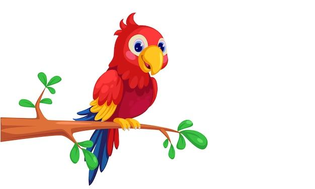 Simpatico cartone animato macaw seduto sul ramo Vettore gratuito
